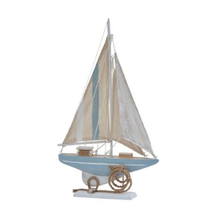 Distressed Boat Nautical Ornament Cream & Blue Striped Sail